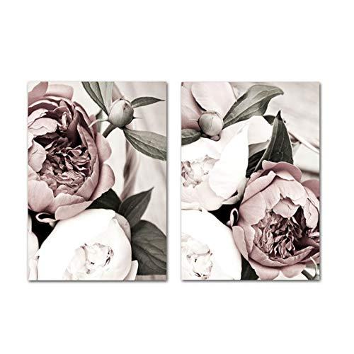 Cartel escandinavo de la Planta de la Hoja de la Flor Blanca Rosada nórdica impresión botánica Pintura de la Lona Cuadro del Arte de la Pared decoración del hogar - (60x80cm) x2pcs sin Marco