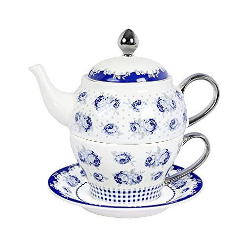 fanquare Juego de Té de Porcelana para Una Persona, Tetera de Rosas Azules y Lunares, El Mjor Regalo para Cumpleaños o Boda.