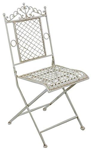 Biscottini Chaise Pliante en Fer forgé Blanc Antique 96x49x41 cm