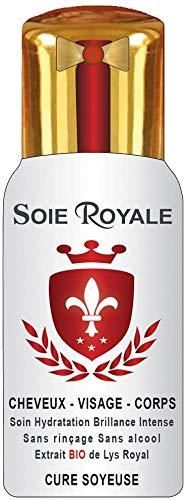 Soie Royale Cure Soyeuse 300 ml Extrait BIO de Lys Royal Protéines de Soie Antioxydant Vitamine E Soin Cheveux Visage Corps Nourrit Hydrate Démêle tous types de cheveux Brillance Intense sans alcool