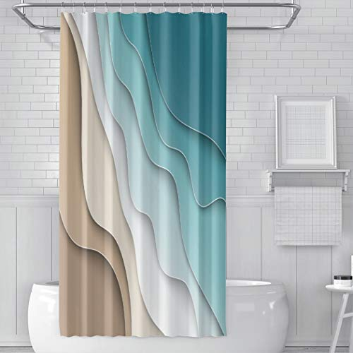Hoooottle Shower Curtain Abstract Blue Sea and Beach Summer...