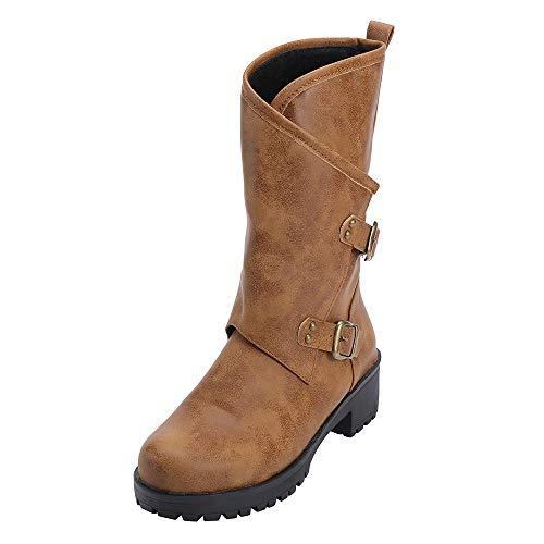 Tefamore Botas de Mujer Altas Invierno Cuero Zapatos 2018 Invierno Botas Denieve Cómodo Calzado Informal con Cremallera Hebilla