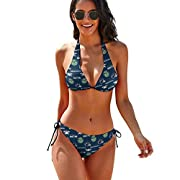 [Material description] 86% polyester + 14% spandex [Product performance]:: Triangle bikini top, neck and back straps are adjustable, size and cup can be adjusted according to your body shape. Use three-dimensional design to give you a different feeli...