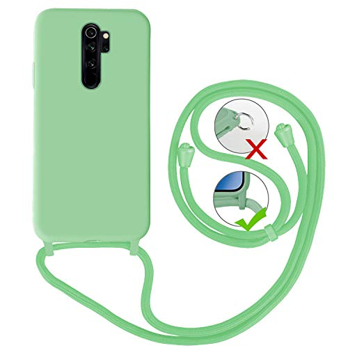 FMPC Funda Cuerda Compatible con Xiaomi Redmi Note 8 Pro, Ajustable Collar Correa de Cuello Cordón Carcasa de Líquida Suave Silicona Colgante, Verde