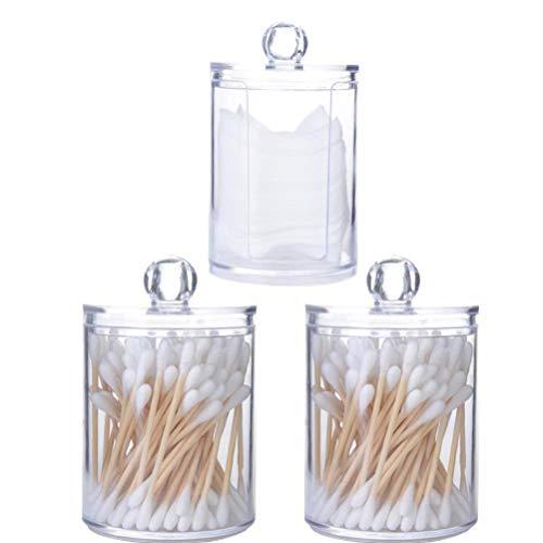 Berrywho Titolare Dischetto di Cotone Contenitore erogatore di Trucco dell'organizzatore Rotonde Cosmetici di stoccaggio di plastica Trasparente 3PCS Jar