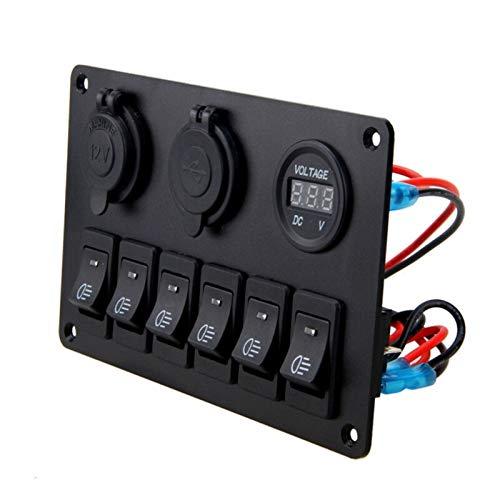 LiHaQin 12V 6 Botones Impermeable Auto Boat Auto Boat Marine LED Rocker Interruptor Interruptor de interruptores para el Panel de Control del Interruptor de balancín LiHaQin