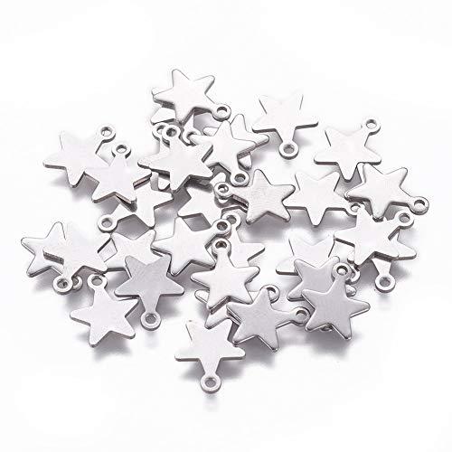 UNICRAFTALE Circa 200 pz Ciondoli in Acciaio Inossidabile Ciondolo A Forma di Stella Ciondolo Piccolo Foro per Gioielli Fai-da-Te Bracciale Collana Fare 10x7x1mm, Hole 1 mm