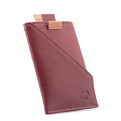 The Frenchie Co Calfskin Slim Front Pocket Speed Card Holder | Burgundy