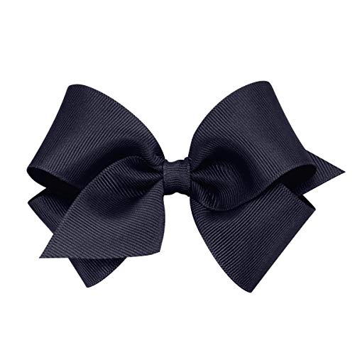 Wee Ones Baby Girls' Small Classic Grosgrain Hair Bow on a WeeStay Clip w/Plain Wrap - Navy