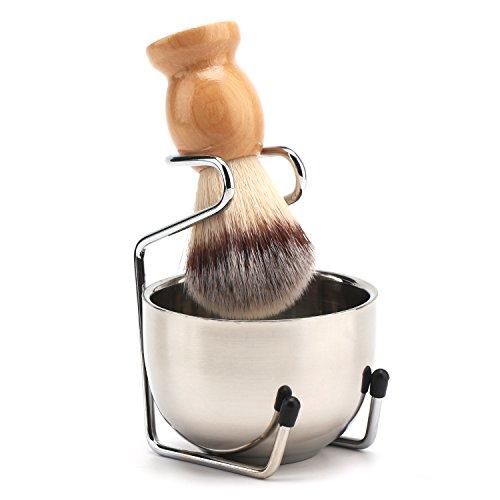 Segbeauty Brocha de Afeitar, Afeitado de Barba Jabonera de Acero Inoxidable, Taza de Crema de Afeitar y Soporte Titular, Barba de Limpieza Afeitado Húmedo Tazón Lather Kit de Aseo para Hombres