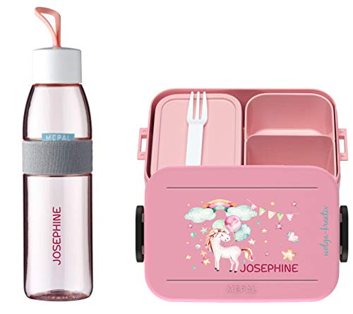 wolga-kreativ Brotdose Obsteinsatz Bento Box und Trinkflasche auslaufsicher BPA frei für Kinder Mepal Mädchen Einhorn Luftballon personalisiert mit Namen Lunchbox Brotbox mit Fächern