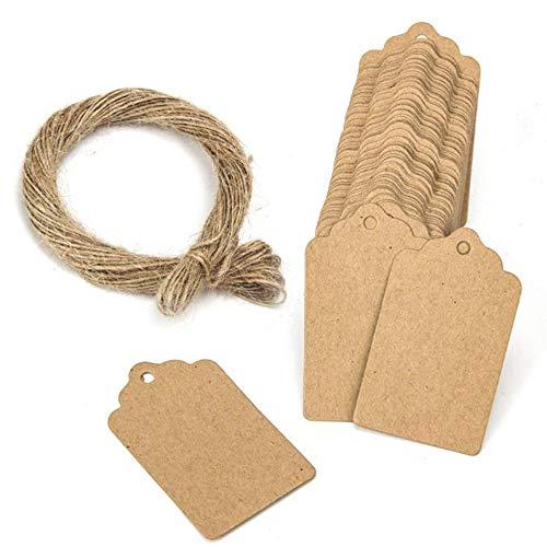MINGZE Etiquetas de regalo de 100 piezas, etiquetas de papel Kraft para boda, marrón, rectángulo, artesanía, etiquetas de precio para colgar con 20 m de hilo natural de yute