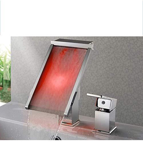 HONYGE LXGANG Nuevo de Tres Colores Moderna generación de energía Simple Agua de luz LED de Control de Temperatura de Color Grifo del baño Hermosa práctica Grifo