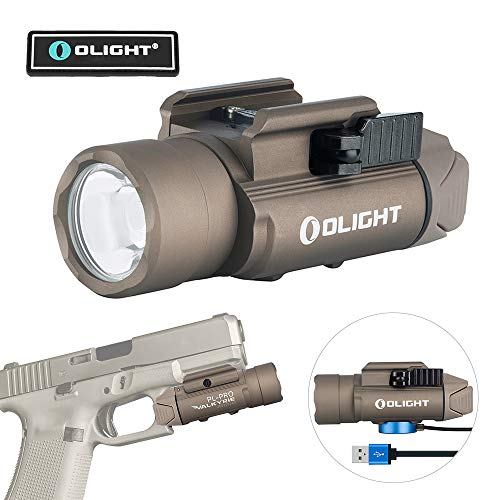 Olight PL-PRO Valkyrie 1500 Lumens USB Rechargeable Weaponlight with Cree XHP 35 HI NW LED, Compact Gunlight Powered by Built in Battery with MCC Included, Max. Throw 280 Meters Waterproof IPX6 (PL PRO Desert Tan)