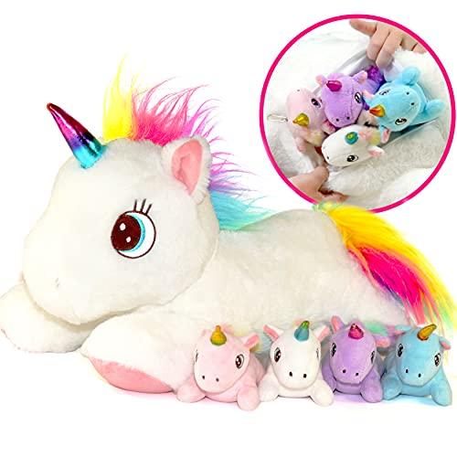 Unicorn Stuffed Animal with Mommy and 4 Baby Unicorns for Girls - Plush Mom Unicorn Stuffie with Pocket for Babies in Her Tummy - Unicorn Gift for Girls Ages 3 4 5 6 7 8 9 Years