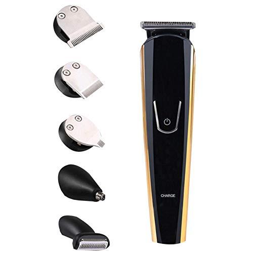 Jinding 5-in-1 Multifunktions-Haarschneiderset, mit Kammöl 5 Köpfe, mit Nasenohrschneiderform Trimmerbart waschbarer Bart