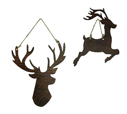Rusty Galvanized Metal Deer Silhouette Hanging Ornament Set - Favorite Decor Store