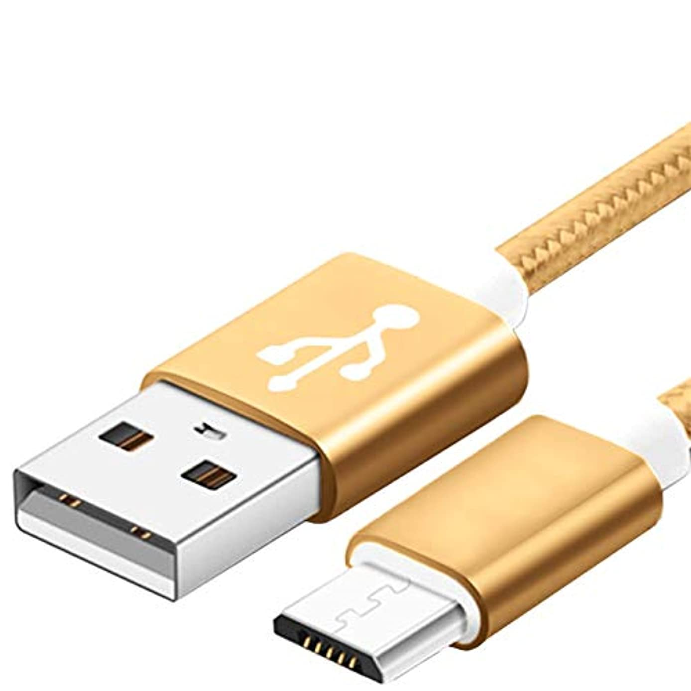 Micro USB Cable,5FT Long Nylon Braided Android Windows Fast Charging Charger Cord Durable USB2.0 Sync&Charging Powerline for Samsung Galaxy S7 S6 Sony LG Smartphones Gold