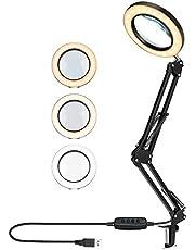 BestCool Led-bureaulamp, 5 x led-vergrotingslamp, instelbaar, oogverzorgende leeslamp met klem, metalen zwenkarm vergrootglas, 3 kleuren verlicht