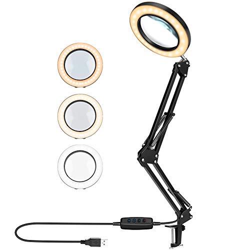 BestCool Lámpara de Escritorio LED, lámpara de Aumento LED de 5X Lámpara de Lectura Ajustable para el Cuidado de los Ojos con Abrazadera, luz de Lupa de Brazo oscilante de Metal 3 Colores iluminados