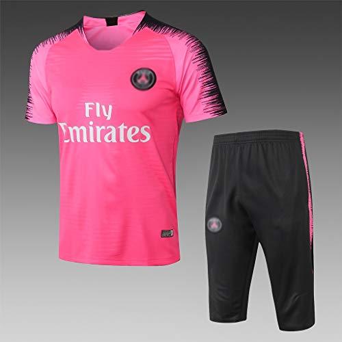 Jugador de Utilidad! Europeo de Fútbol Club de fútbol de Manga Corta de la Camiseta Rosa Transpirable Ropa del Entrenamiento del fútbol-QWQ025 (Color : Pink, Size : M)