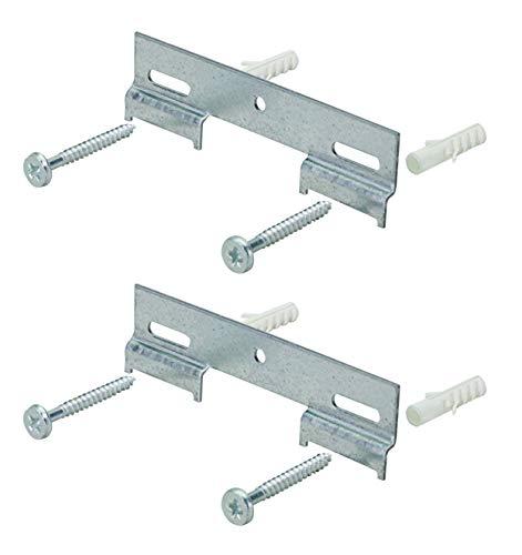 Hettich 9219498 Riel para colgar armario (130 mm, galvanizado, incluye tornillos y tacos)