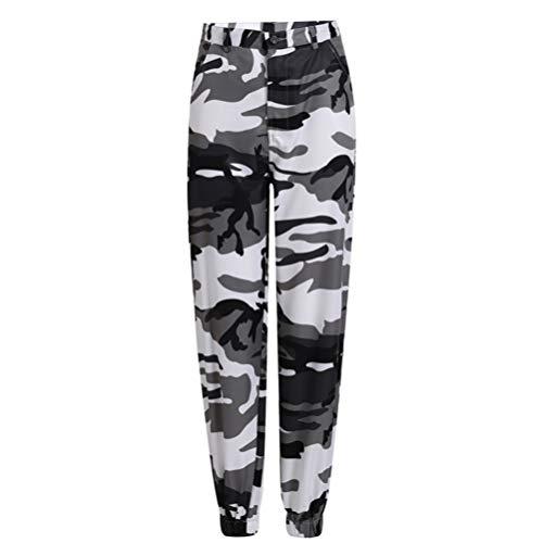 Feidaeu Frauen Sweatpants Hohe Taille Camouflage Button Fly Wollstoff Bequeme, atmungsaktive und schnell trocknende Streetwear-Hose