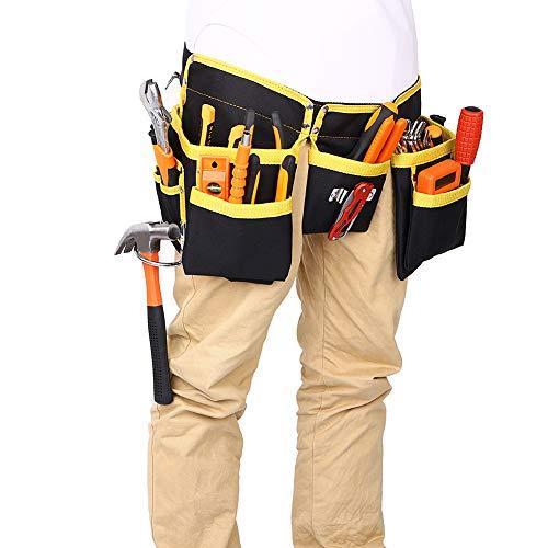Bolsa de herramientas/delantal con 11 bolsillos para herramientas, Oxford impermeable profesional bolsa de cinturón con cinturón