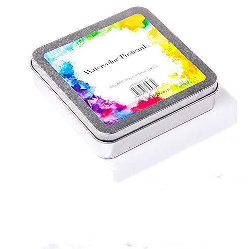 DEDC - Bloc de papel de acuarela para acuarela, bloc de tarjetas postales, caja de metal, 24 hojas de papel para acuarela portátiles, para pintar y dibujar (10,5 x 10,5 cm)