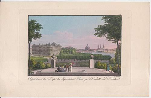 Aussicht von der Terrasse des Japanischen Palais zu Neustadt bei Dresden. No. 9. Alt-kolorierte Originalradierung.