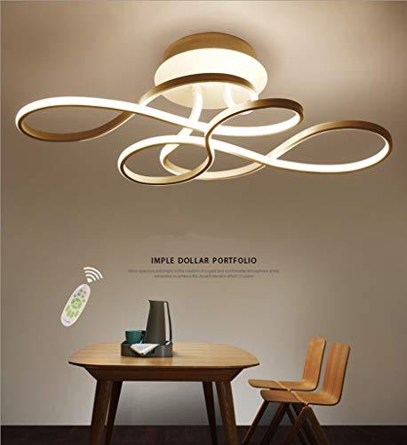 GHY LED Dimmbar Deckenleuchte Modern Wohnzimmerlampe Creative Aluminium Acryl Design Lampe Decke Fixture Beleuchtung Innen Dekorative Deckenbeleuchtung Für Schlafzimmer Küche Büro,Gold,70x40cm/110W