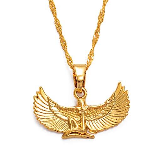 Fab ägyptische Göttin Halskette Gold Farbe Flügel Kette Halsketten Ankh Bib Wicca Pagan Schmuck Ägypten Religion 60cm