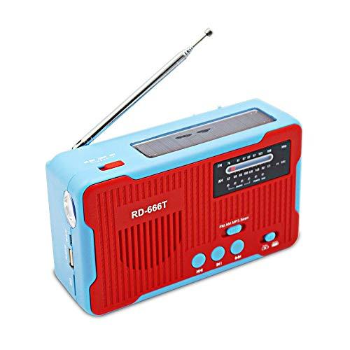 Lsmaa Radio portátil Am fm, 1 linterna LED se puede utilizar como una fuente de alimentación móvil para generar electricidad, y se puede utilizar cuando cortes de energía causados por tifones