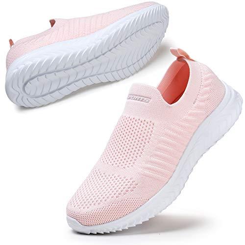 STQ Zapatillas de caminar para mujer sin cordones informales, color Rosa, talla 39 EU
