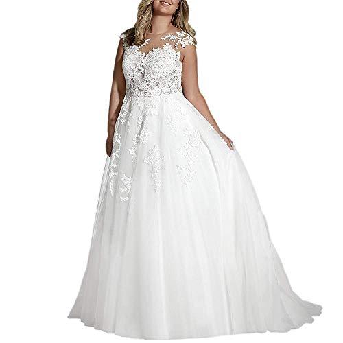 Cloverbridal Hochzeitskleid Elegant Damen Lang Weiß Vintage Spitze Tüll A Linie Hochzeitskleider Brautkleid Große Größen Weiß 52
