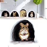 10Pcs Cute Mouse Hole Wall Decal Indoor & Outdoor Baseboard Sticker Creative 3D Pets Sticker Funny Mouse Hole Decal Art Sticker for Home Store Kindergarten Decoration