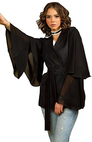 The Gallery Women's Gabardine, Chiffon, and Lace Jacket Black, S
