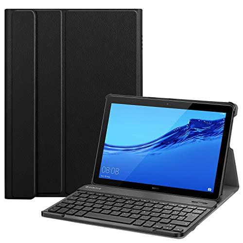 FINTIE Funda con Teclado Español Ñ para Huawei Mediapad T5 10 - Carcasa SlimShell con Soporte y Teclado Español Bluetooth Inalámbrico Magnético Desmontable, Negro