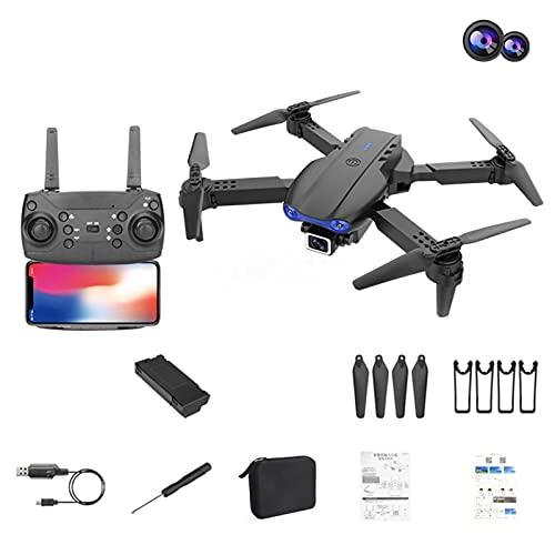 JIAOJAIO K3 Folding Drone HD 4k Dual Camera 2.4GHz Anti-Jamming UAV Transmission Quadcopter,Trajectory Flight, Follow Me and Outdoor Carrying Case/Black-Dual 4K Cameras