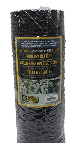 Acorn International PNVC124150 Vinyl Coated Poultry Netting, 1' x 24' x 150', Black Mesh