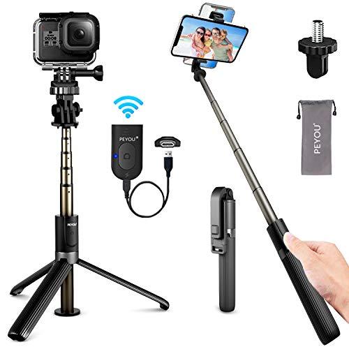 PEYOU Bastone Selfie Bluetooth, Ricaricabile 4 in 1 32.3'' Selfie Stick Treppiede con Alluminio Allungabile Monopiede Rotazione 360 ° e Telecomando Compatible per Gopro, Mini Fotocamera, Smartphones