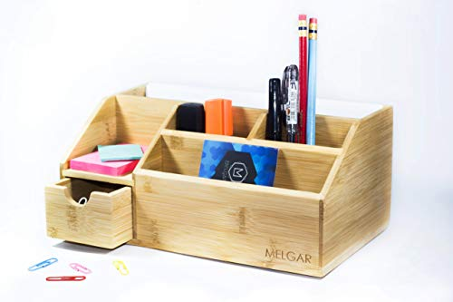 Melgar King Small Bamboo Wood Desk Organizer for Home, Office or College use - Holds Pens, Pencils, Remote Control, Mail, Supplies, Stationary Set. Great Gift for Friends, Family and Teens - Bamboo