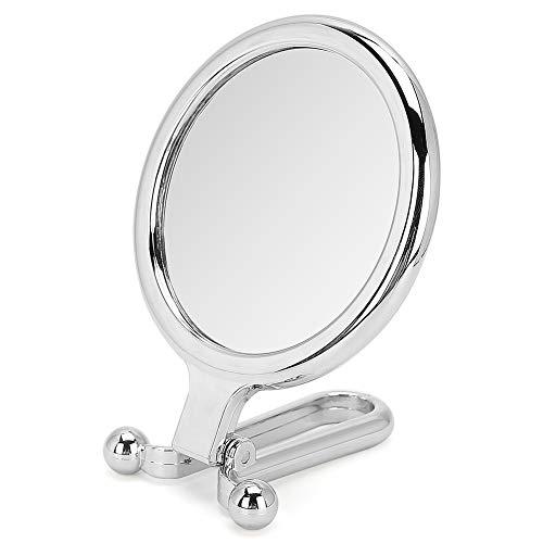 SanZHONGsd Miroir de voyage à main double face - grossissement x1 et x5 avec poignée pliable réglable, portable, transparent et rond