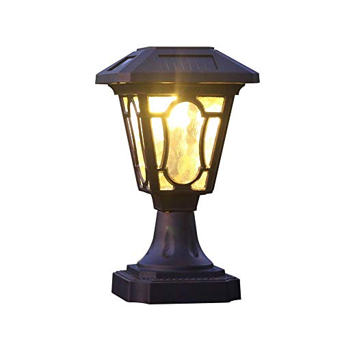 Brown Solar Lawn Post Lights Outdoor LED Yellow Light Wall Light...