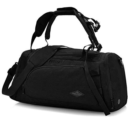 DCCN Sport duffle Bag 3in1 sporttas reistas met schoenenvak, 35 liter rugzak handbagage weekender zwart