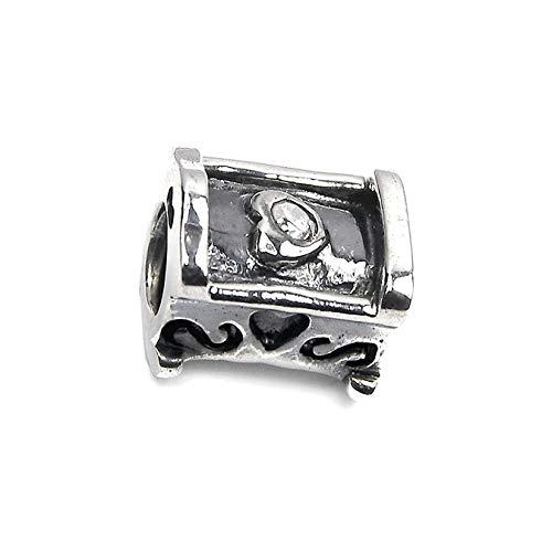 Carlo Biagi Beads - Bead berceau avec zircon blanche pour bead bracelet, collier, boucles d oreilles - Drops Femme Argent 925 Sterling - BBSCZ16C