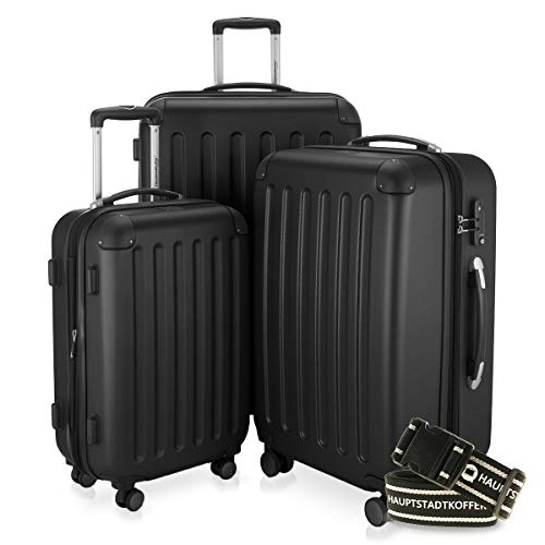 Hauptstadtkoffer - Spree - 3er-Koffer-Set Trolley-Set Rollkoffer Reisekoffer-Set Erweiterbar, TSA, 4 Rollen, (S, M & L), Schwarz +Gepäckgurt