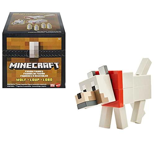 Minecraft GVV16 - Fusion Große Figur Wolf, Craft-a-Figure-Set zum Selberbauen und Spielen, Tauschen und Sammeln, Spielzeug für Kinder ab 6 Jahren