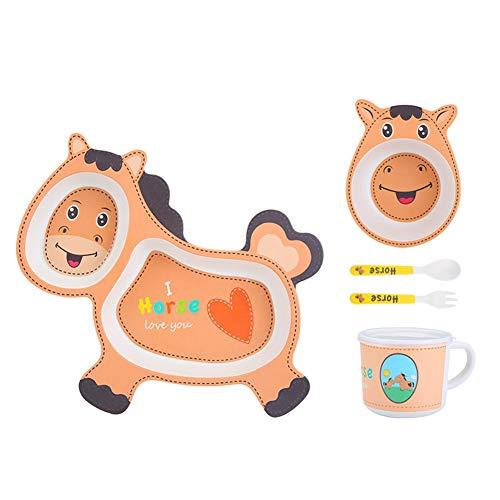 5pcs vajilla de dibujos animados de fibra de bambú búho cuenco de alimentación del bebé vajilla portátil elefante/caballo, caballo