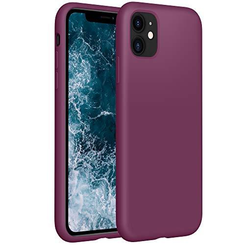 YATWIN Compatibile con Cover iPhone 11, Custodia per iPhone 11 Silicone Liquido, Protezione Completa del Corpo con Fodera in Microfibra, Compatibile con iPhone 11 6,1'', Vino Rosso